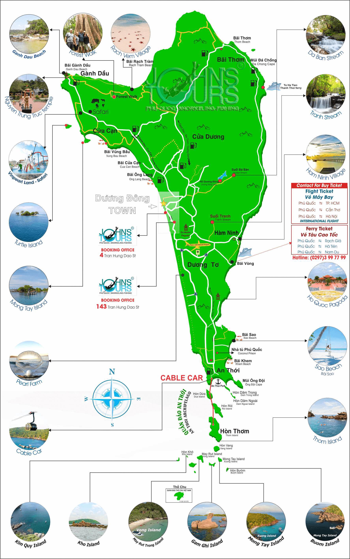 Bản đồ du lịch Phú Quốc 2020